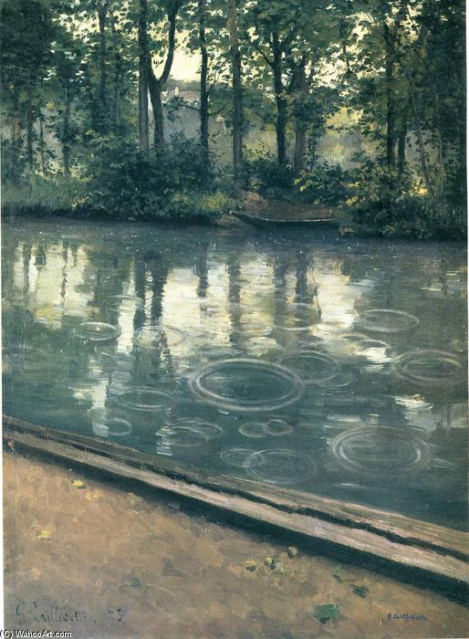 The Yerres, Rain, Oil On Canvas by Gustave Caillebotte (1848-1894, France)
