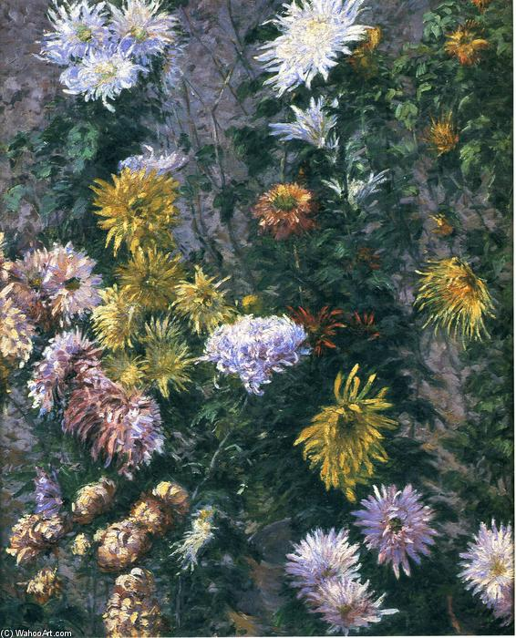 White and Yellow Chrysanthemums, 1893 by Gustave Caillebotte (1848-1894, France) | Museum Quality Reproductions | WahooArt.com