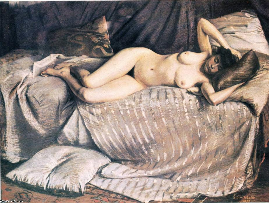 Naked Woman Lying on a Couch, Pastel by Gustave Caillebotte (1848-1894, France)