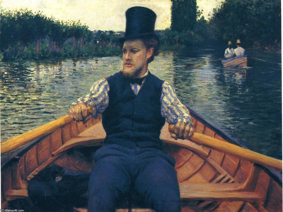 Rower in a Top Hat, Oil On Canvas by Gustave Caillebotte (1848-1894, France)