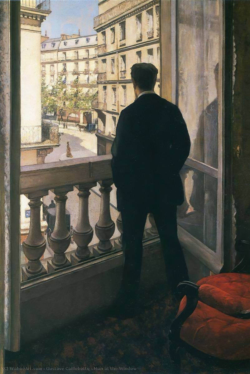 Man at the Window, Oil On Canvas by Gustave Caillebotte (1848-1894, France)