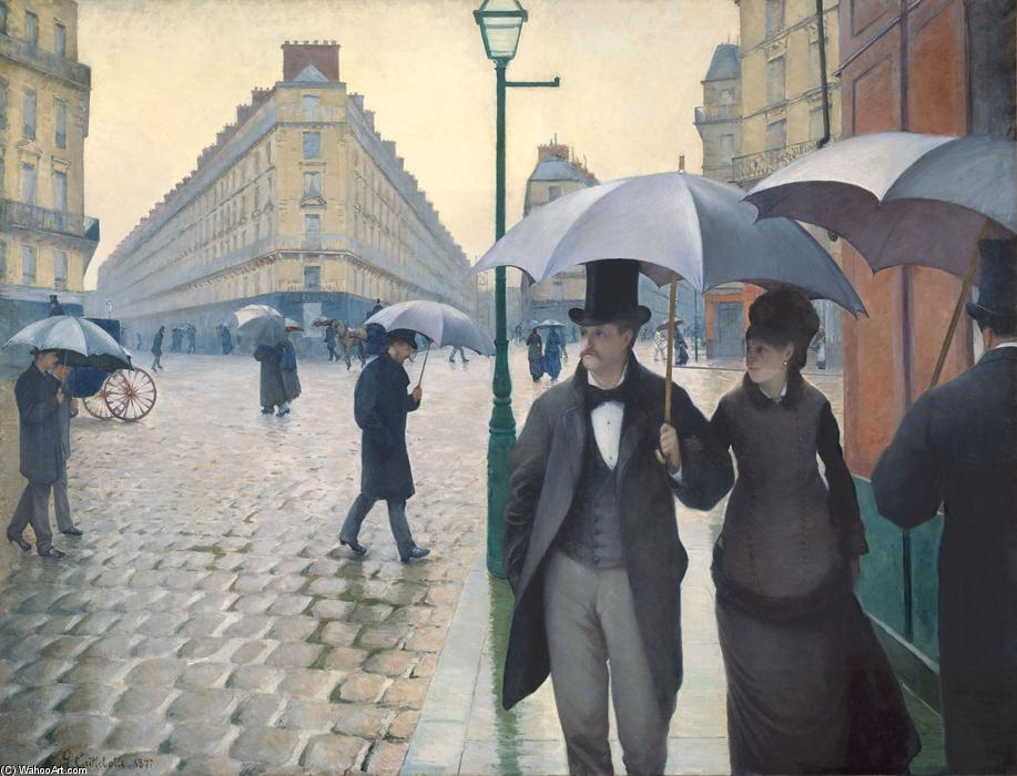 Paris, a Rainy Day, 1877 by Gustave Caillebotte (1848-1894, France) | Painting Copy | WahooArt.com