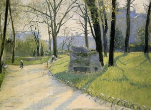 The Park Monceau, Oil On Canvas by Gustave Caillebotte  (order Fine Art Framed Giclee Gustave Caillebotte)