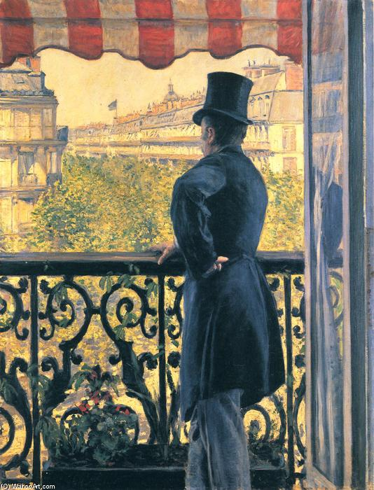 Man on a Balcony, Boulevard Haussmann, 1880 by Gustave Caillebotte (1848-1894, France) | Famous Paintings Reproductions | WahooArt.com