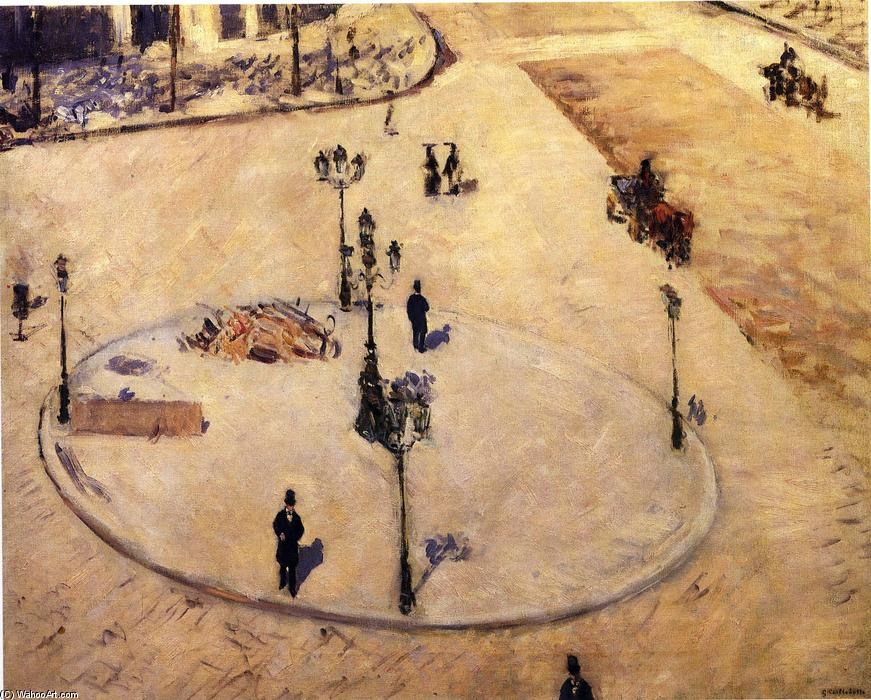 Order Famous Paintings Reproductions : Traffic Island on Boulevard Haussmann, 1880 by Gustave Caillebotte (1848-1894, France) | WahooArt.com