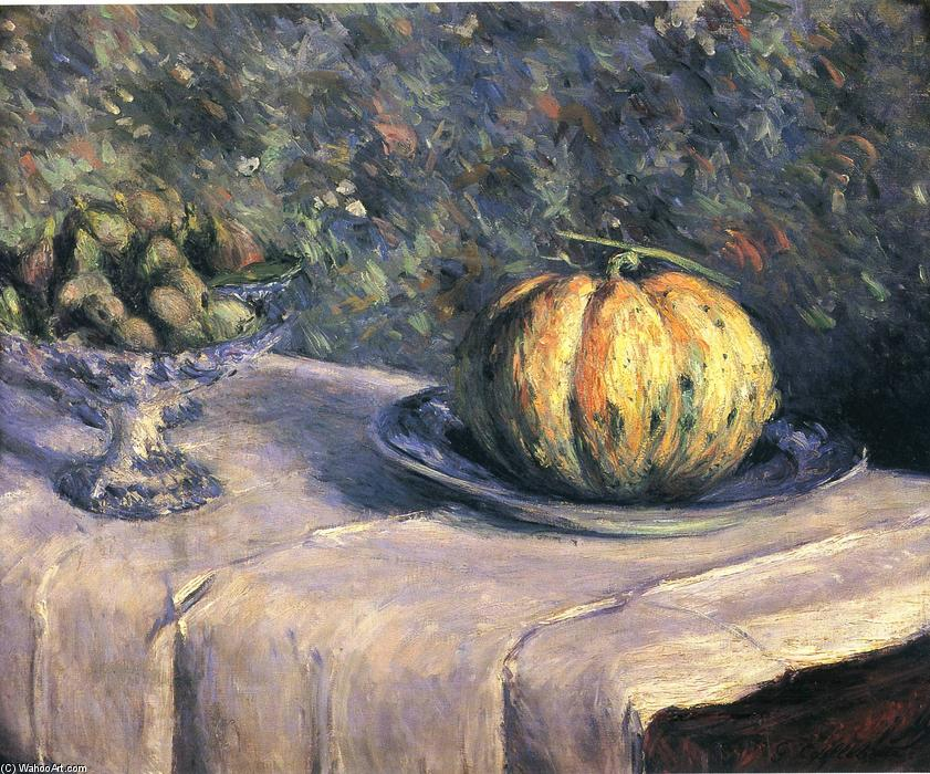 Melon and Fruit Bowl with Figs, 1882 by Gustave Caillebotte (1848-1894, France) | Painting Copy | WahooArt.com