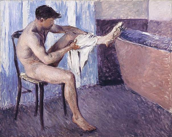 Man drying his leg, Oil On Canvas by Gustave Caillebotte (1848-1894, France)