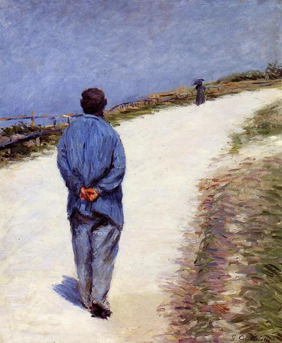 Buy Museum Art Reproductions | Pere Magloire on the Road to Saint-Clair, Etretat, 1884 by Gustave Caillebotte (1848-1894, France) | WahooArt.com