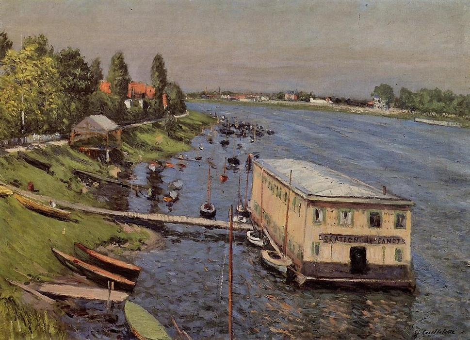 The Pontoon at Argenteuil, 1887 by Gustave Caillebotte (1848-1894, France) | Famous Paintings Reproductions | WahooArt.com