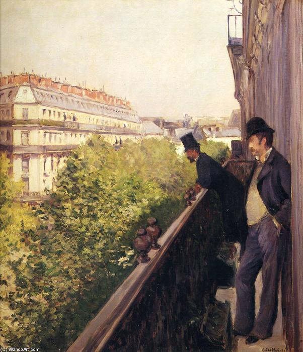 A Balcony, Boulevard Haussmann, Oil On Canvas by Gustave Caillebotte (1848-1894, France)