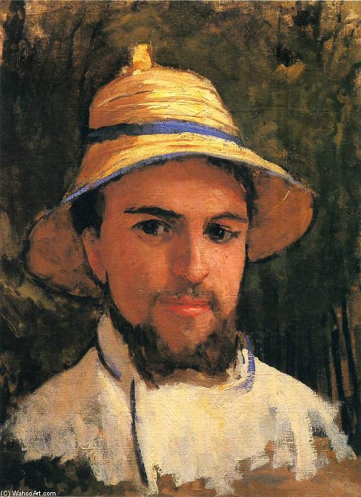 Self-Portrait with Pith Helmet, Oil On Canvas by Gustave Caillebotte (1848-1894, France)