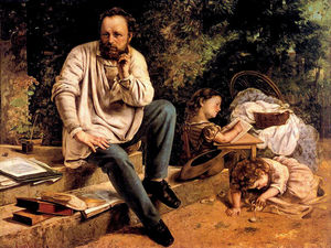 Gustave Courbet - Pierre Joseph Proudhon and his children in 1853