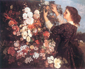 Gustave Courbet - The Trellis (Young Woman Arranging Flowers)