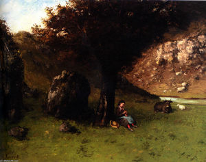 Order Reproductions | The Young Shepherdess by Gustave Courbet (1819-1877, France) | WahooArt.com