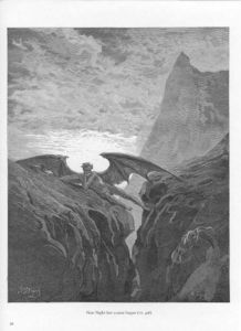Paul Gustave Doré - Plate no. 26 Book VI line 406 -Now Night her Course began..-