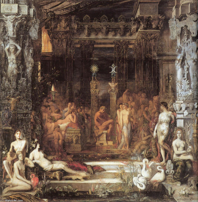 The Daughters of Thespius, Oil On Canvas by Gustave Moreau (1826-1898, France)