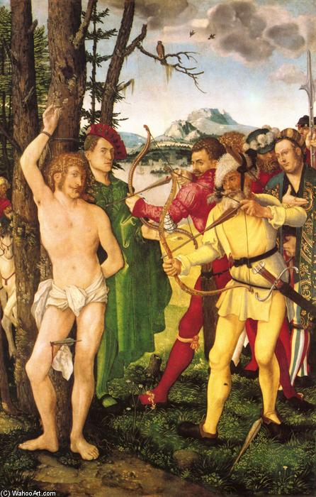 Altarpiece with The Martyrdom of St. Sebastian, 1507 by Hans Baldung (1485-1545, Germany) | Museum Art Reproductions Hans Baldung | WahooArt.com