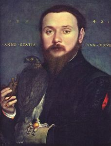 Hans Holbein The Younger - Portrait of Nobleman with a falcon