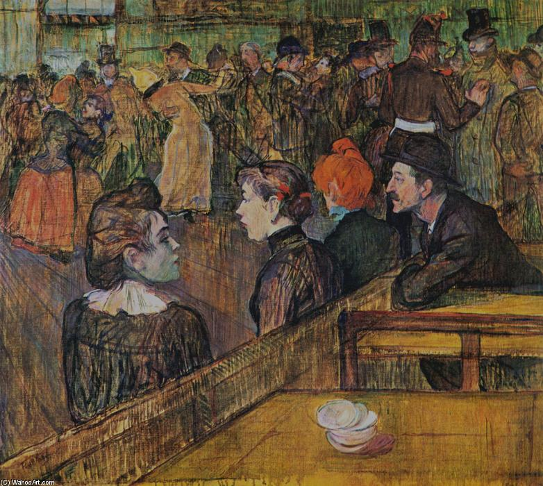 Ball at the Moulin de la Galette, Oil On Canvas by Henri De Toulouse Lautrec (1864-1901, France)