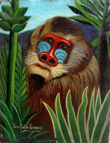 Order Poster On Canvas Mandrill in the Jungle, 1909 by Henri Julien Félix Rousseau (Le Douanier) | WahooArt.com | Order Fine Art Print Mandrill in the Jungle, 1909 by Henri Julien Félix Rousseau (Le Douanier) | WahooArt.com