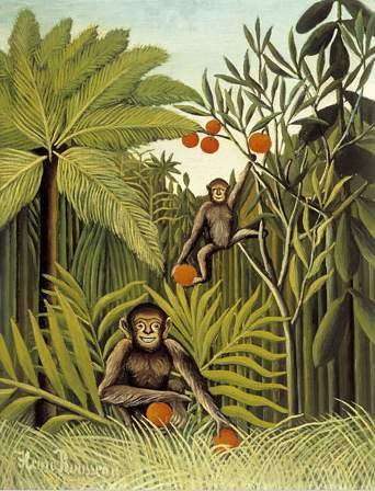 The Monkeys in the Jungle, 1909 by Henri Julien Félix Rousseau (Le Douanier) | Oil Painting | WahooArt.com