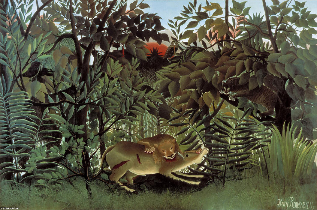 The Hungry Lion Throws Itself on the Antelope, 1905 by Henri Julien Félix Rousseau (Le Douanier) | Painting Copy | WahooArt.com
