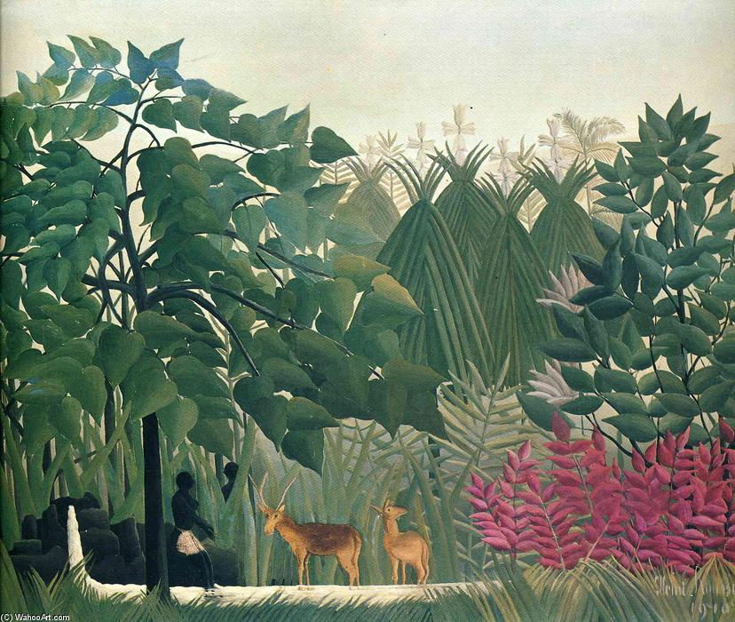 The Waterfall, 1910 by Henri Julien Félix Rousseau (Le Douanier) | Famous Paintings Reproductions | WahooArt.com