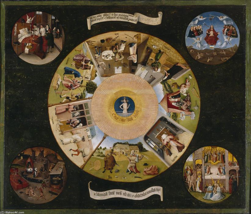 The Seven Deadly Sins and the Four Last Things, Oil On Panel by Hieronymus Bosch (1450-1516, Netherlands)