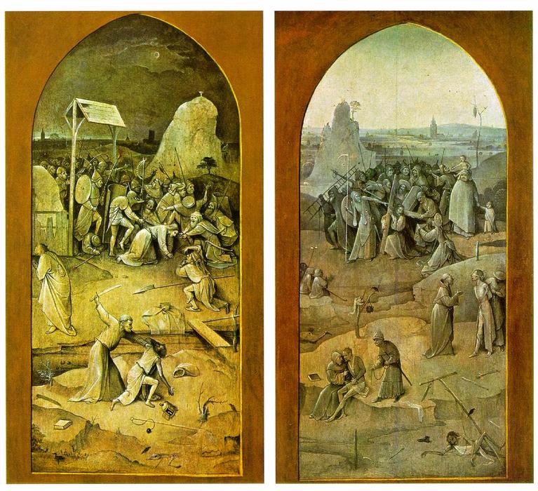 Tiptych of Temptation of St Anthony, Grisaille by Hieronymus Bosch (1450-1516, Netherlands)