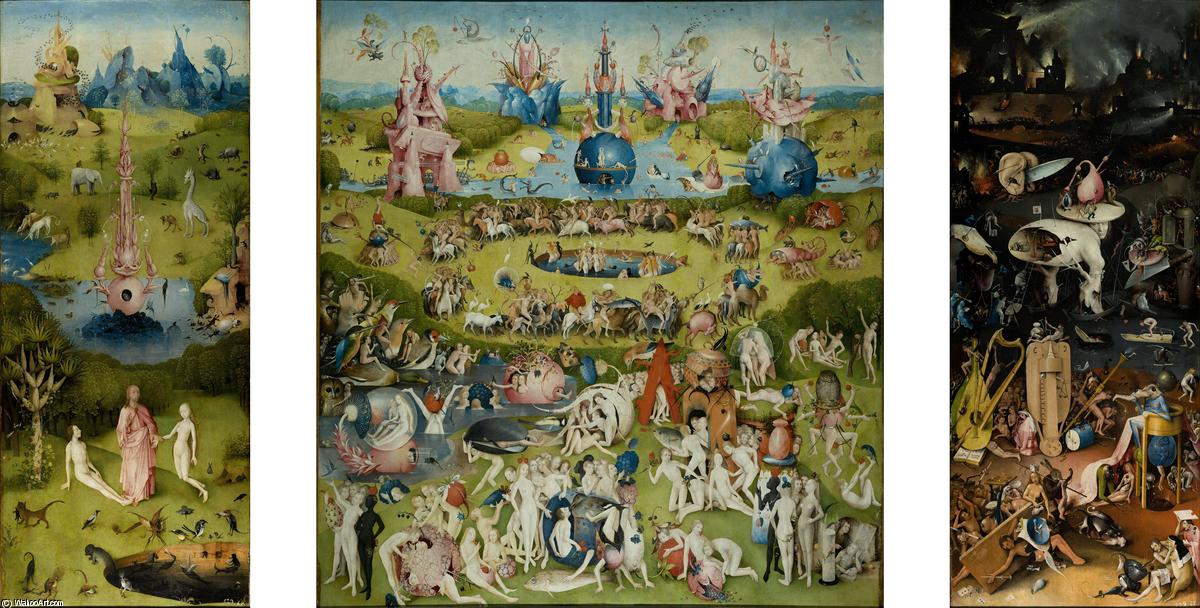 The Garden of Earthly Delights, Oil On Panel by Hieronymus Bosch (1450-1516, Netherlands)
