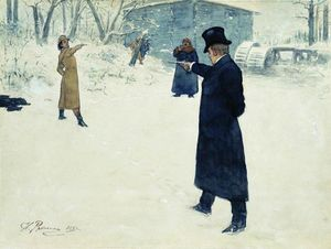 Ilya Yefimovich Repin - Duel between Onegin and Lenski