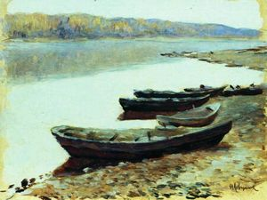 Isaak Ilyich Levitan - Landscape on Volga. Boats by the Riverbank.
