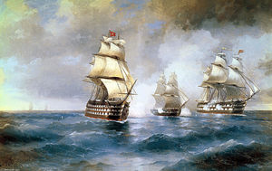Ivan Aivazovsky - Brig Mercury Attacked by Two Turkish Ships