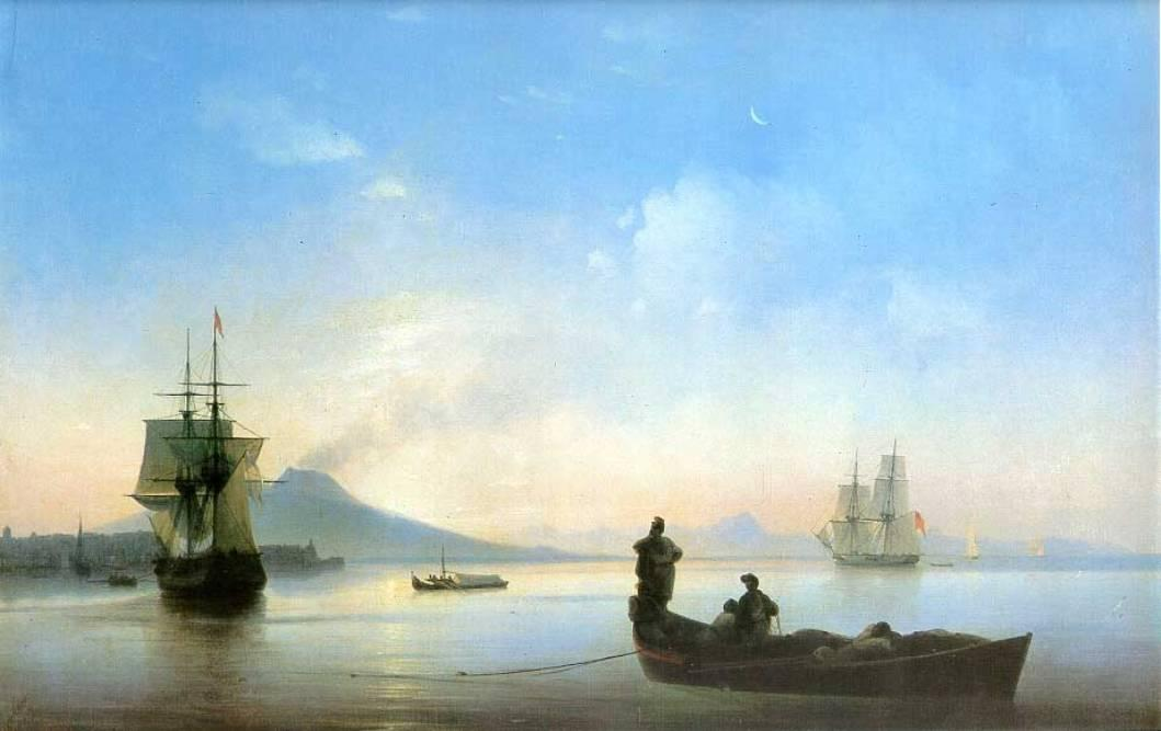 The Bay of Naples in the morning, 1843 by Ivan Aivazovsky (1817-1900, Russia) | Reproductions Ivan Aivazovsky | WahooArt.com