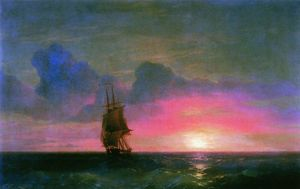 Ivan Aivazovsky - Sunset. A lone sailboat