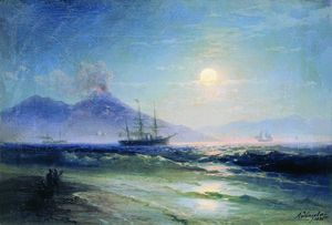 Ivan Aivazovsky - The Bay of Naples at night