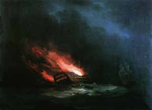 Ivan Aivazovsky - Burning ship (the episode of the Russian-Turkish War)