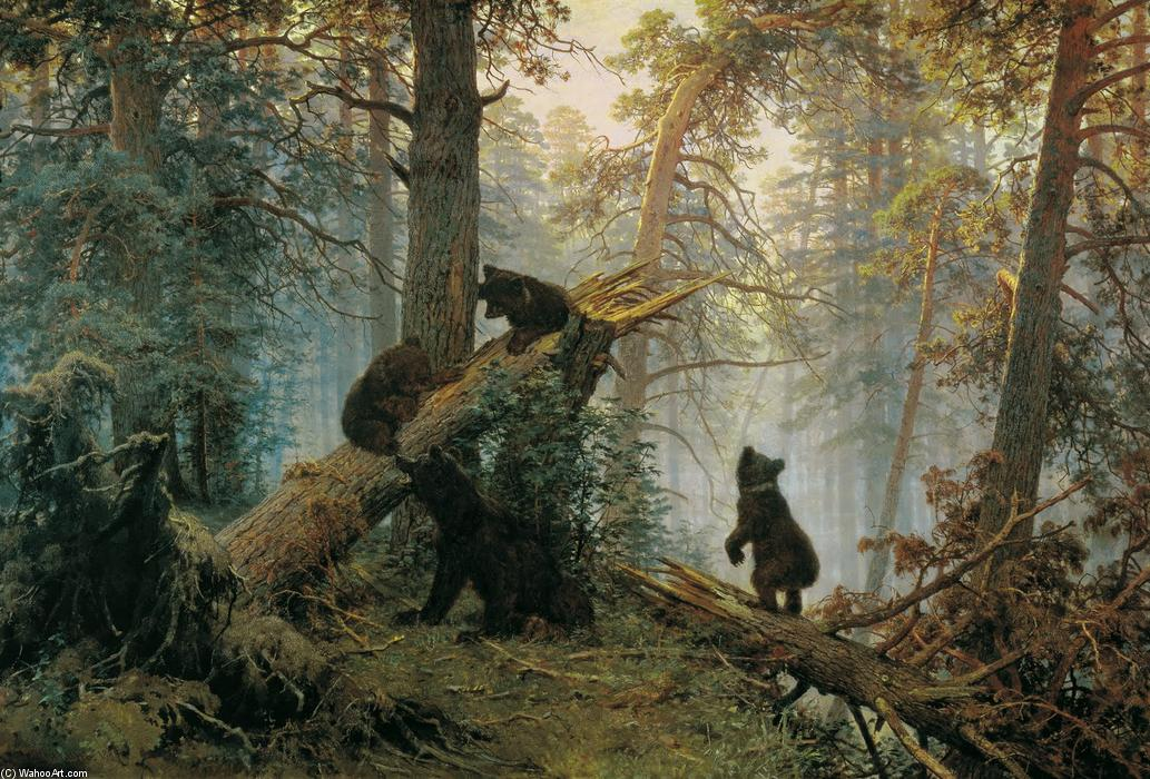 Morning in a Pine Forest, 1889 by Ivan Ivanovich Shishkin (1832-1898, Russia) | Famous Paintings Reproductions | WahooArt.com