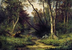 Ivan Ivanovich Shishkin - Forest Landscape with Herons