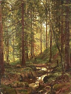 Ivan Ivanovich Shishkin - Stream by a Forest Slope