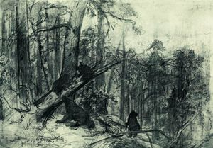 Ivan Ivanovich Shishkin - Morning in a Pine Forest - (Famous paintings)