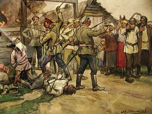 Ivan Vladimirov - The shooting of peasants by White Cossacks