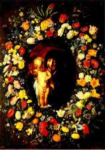 Jacob Jordaens - Madonna and Child wreathed with flowers