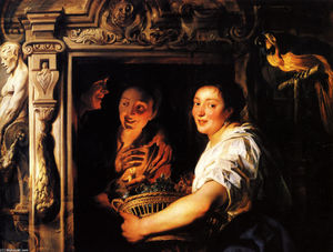 Jacob Jordaens - Servant with a fruit basket and a pair of lovers