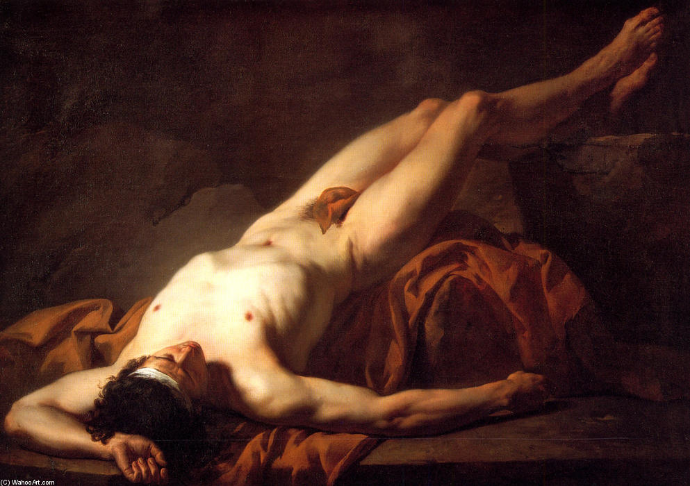 Buy Museum Art Reproductions | Male Nude known as Hector, 1778 by Jacques Louis David (1748-1800, France) | WahooArt.com