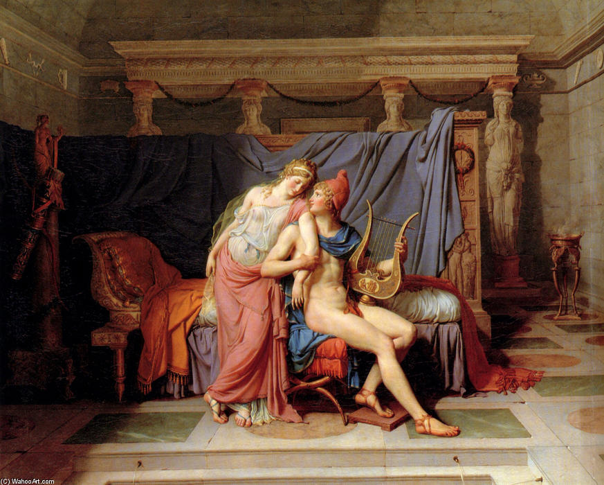 Paris and Helen, 1788 by Jacques Louis David (1748-1800, France) | Art Reproduction | WahooArt.com