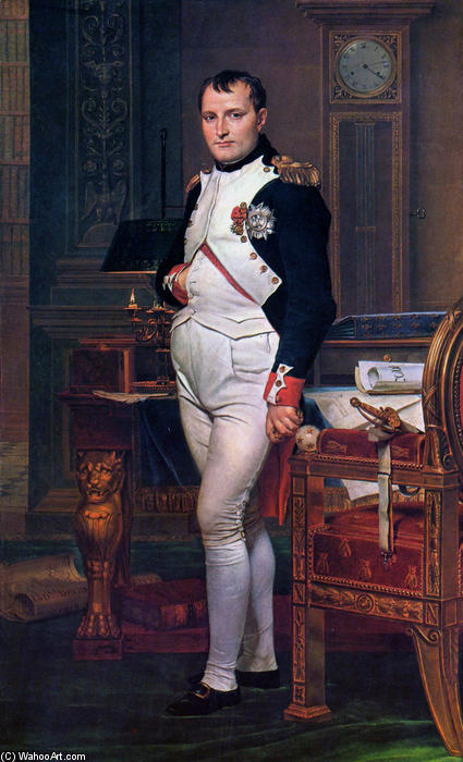 Napoleon Bonaparte in his Study at the Tuileries, Oil On Canvas by Jacques Louis David (1748-1800, France)