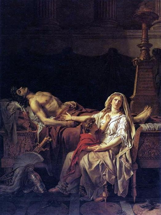 The Pain of Andromache, Oil On Canvas by Jacques Louis David (1748-1800, France)