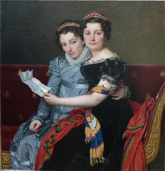 The Sisters Zenaide and Charlotte-Bonaparte, Oil On Canvas by Jacques Louis David (1748-1800, France)