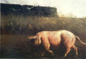 Jamie Wyeth - Pig and Train